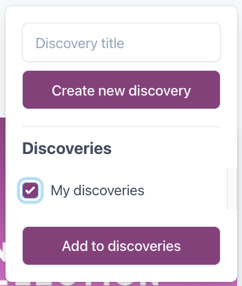 Discoveries pop-up